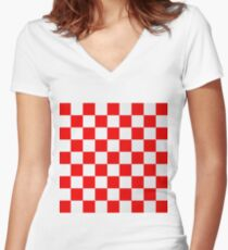 Croatian red and white squares Women's Fitted V-Neck T-Shirt