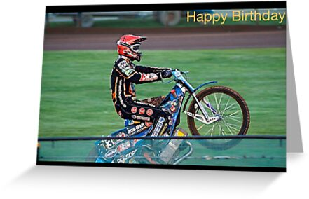Speedway Rider Birthday Card Greeting Cards By Ejrphotography