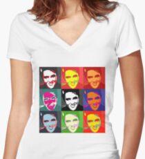 faces of Elvis Women's Fitted V-Neck T-Shirt