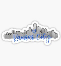 Kansas City Skyline Blue Sticker