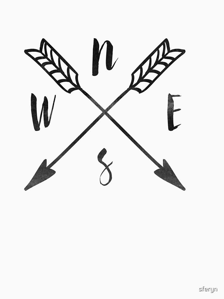 compass print north east south west unisex t shirt by sferyn
