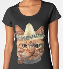 Cat Kitty Kitten In Clothes Glasses Sombrero Women's Premium T-Shirt