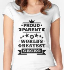 Proud parent of world's greatest gecko shirts and phone cases  Women's Fitted Scoop T-Shirt