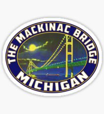 Mackinac Island Bridge Michigan Vintage Sticker