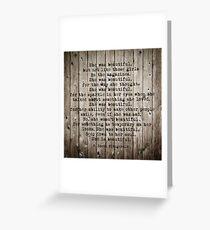 She was beautiful by F. Scott Fitzgerald #woodbackground #poem  Greeting Card