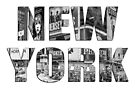 New York (b&w photo filled flat type on white) by Ray Warren