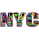 NYC (neon glow type on white) by Ray Warren