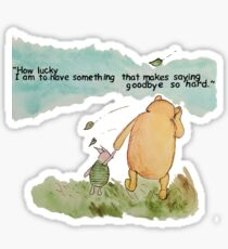 """""""How lucky I am to have something that makes saying goodbye so hard."""" Sticker"""