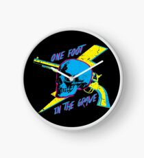 One Foot In the Grave Skull (Neon) Clock