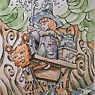 The Witch & her Sentient Wooden Bear passing through the Old Wood by Byron  McBride