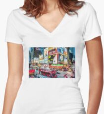 Times Square II (digitally repainted) Fitted V-Neck T-Shirt