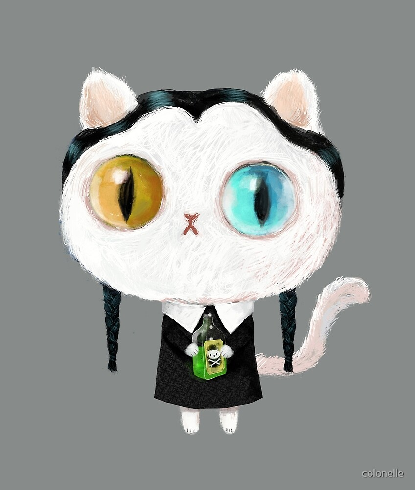 Pick your Poison Halloween Cute White Cat by colonelle