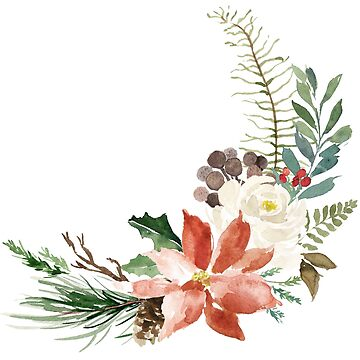 Floral Christmas Watercolor Flower Bouquet by junkydotcom