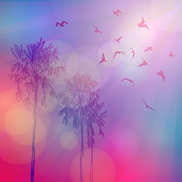 Silhouette of palm trees and birds, sky pink background, sunset, dawn.  by EkaterinaP