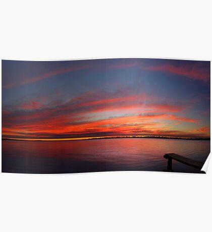 Swan River Sunset (Multi Row Panorama)  Poster