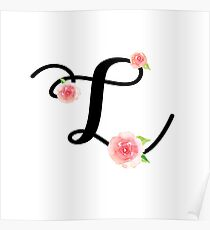 Monogram L with pretty pink roses Poster