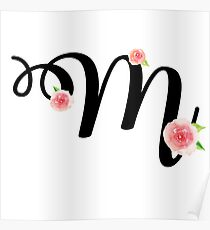 Monogram M with pretty pink roses Poster