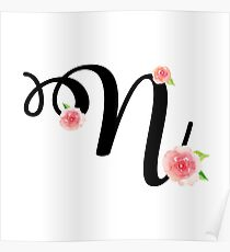 Monogram N with pretty pink roses Poster