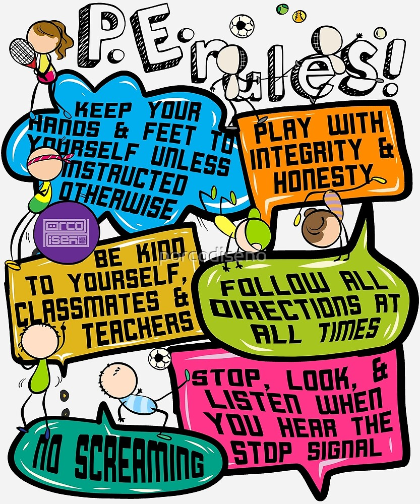 b1d94275 Funny Colorful Doodle Physical Education P.E. Rules