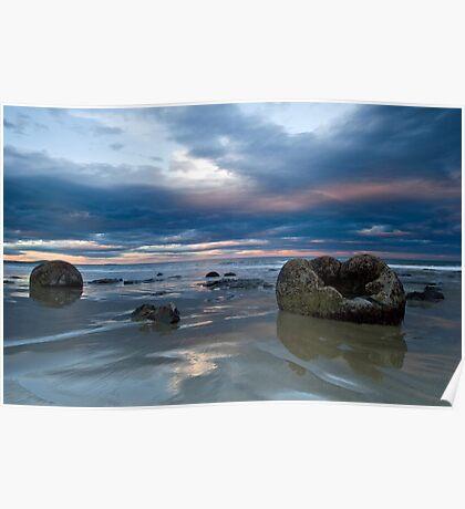 Moeraki Boulders Sunset Poster