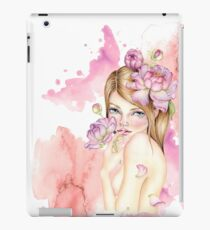 Nymph girl with peonies in her hair watercolor art design iPad Case/Skin