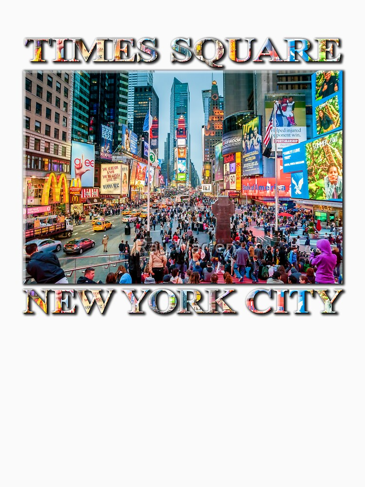Times Square Tourists (poster on white) by RayW