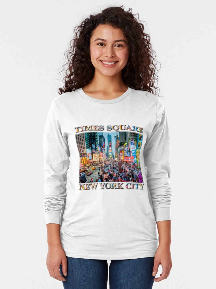 Alternate view of Times Square Tourists (poster on white) Long Sleeve T-Shirt