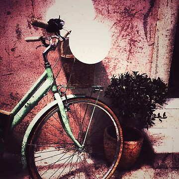 Green bicycle, white balloons, red grunge background by Yomanow