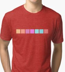 A Swatch-work Quilt - colour chart  (Pastel, without a baby pink in sight) Tri-blend T-Shirt