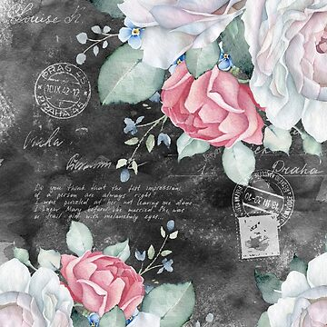 Watercolour Floral - White & Pink Roses 1 by Joey27