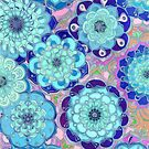 Radiant Cyan & Purple Stained Glass Floral Mandalas by micklyn