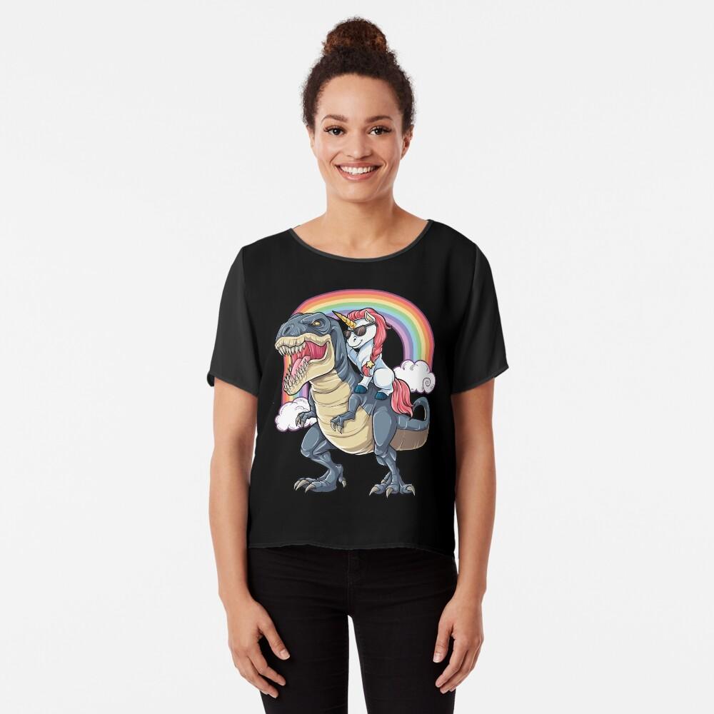 Unicorn Riding Dinosaur T Shirt T-Rex Funny Unicorns Party Rainbow Squad Gifts for Kids Boys Girls Chiffon Top