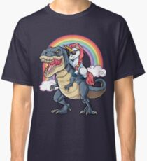 Unicorn Riding Dinosaur T Shirt T-Rex Funny Unicorns Party Rainbow Squad Gifts for Kids Boys Girls Classic T-Shirt