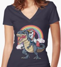 Unicorn Riding Dinosaur T Shirt T-Rex Funny Unicorns Party Rainbow Squad Gifts for Kids Boys Girls Women's Fitted V-Neck T-Shirt