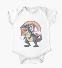 Unicorn Riding Dinosaur T Shirt T-Rex Funny Unicorns Party Rainbow Squad Gifts for Kids Boys Girls One Piece - Short Sleeve