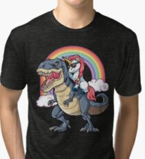Unicorn Riding Dinosaur T Shirt T-Rex Funny Unicorns Party Rainbow Squad Gifts for Kids Boys Girls Tri-blend T-Shirt