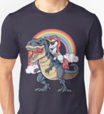 Unicorn Riding Dinosaur T Shirt T-Rex Funny Unicorns Party Rainbow Squad Gifts for Kids Boys Girls Unisex T-Shirt