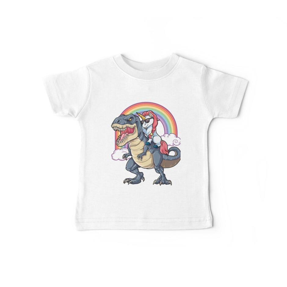 «Unicornio Riding Dinosaurio T-shirt T-Rex Divertido Unicornios Partido Rainbow Squad Regalos para Niños Niños Niñas» de LiqueGifts