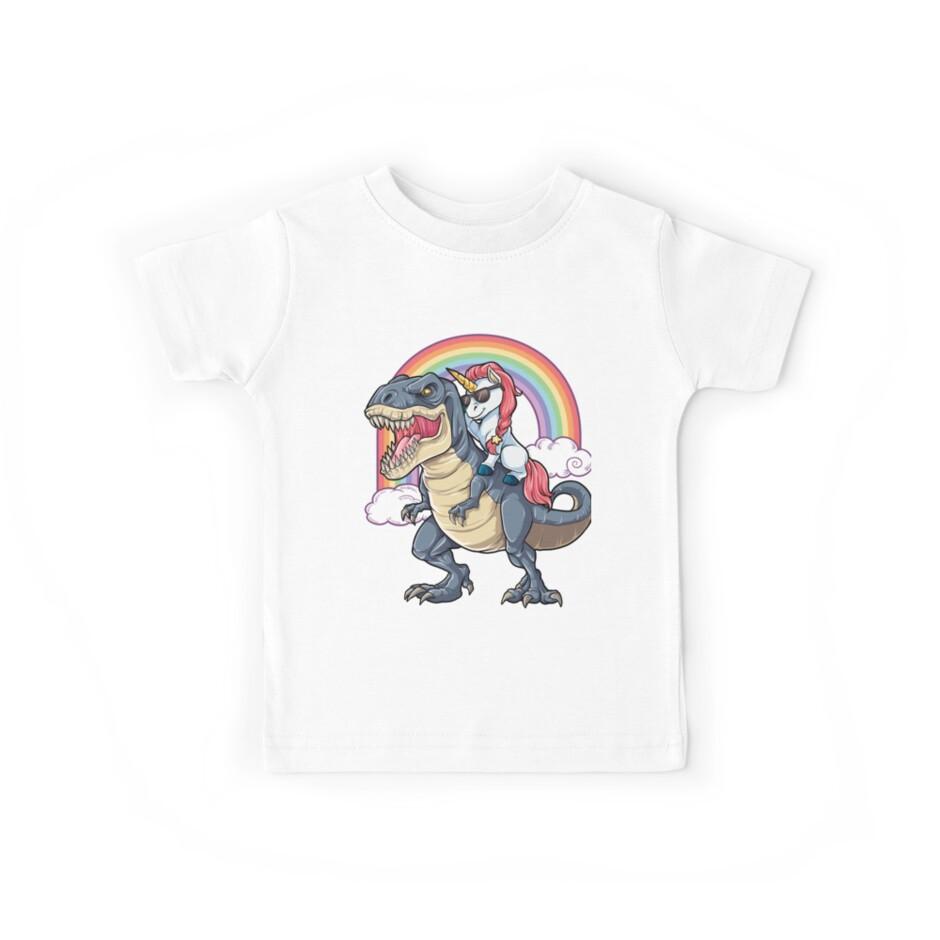 Einhorn Reiten Dinosaurier T Shirt Rex Lustige Einhörner Party Rainbow Squad Geschenke für Kinder Jungen Mädchen von LiqueGifts