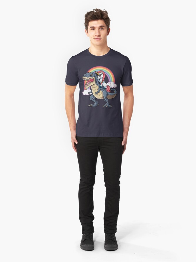 Alternative Ansicht von Einhorn Reiten Dinosaurier T Shirt Rex Lustige Einhörner Party Rainbow Squad Geschenke für Kinder Jungen Mädchen Slim Fit T-Shirt