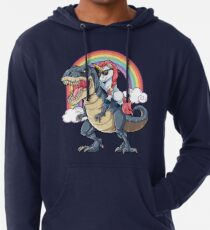 Sudadera con capucha ligera Unicornio Riding Dinosaurio T-shirt T-Rex Divertido Unicornios Partido Rainbow Squad Regalos para Niños Niños Niñas