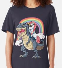 Unicorn Riding Dinosaur T Shirt T-Rex Funny Unicorns Party Rainbow Squad Gifts for Kids Boys Girls Slim Fit T-Shirt