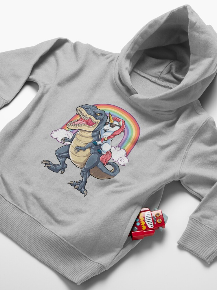 Alternate view of Unicorn Riding Dinosaur T Shirt T-Rex Funny Unicorns Party Rainbow Squad Gifts for Kids Boys Girls Toddler Pullover Hoodie