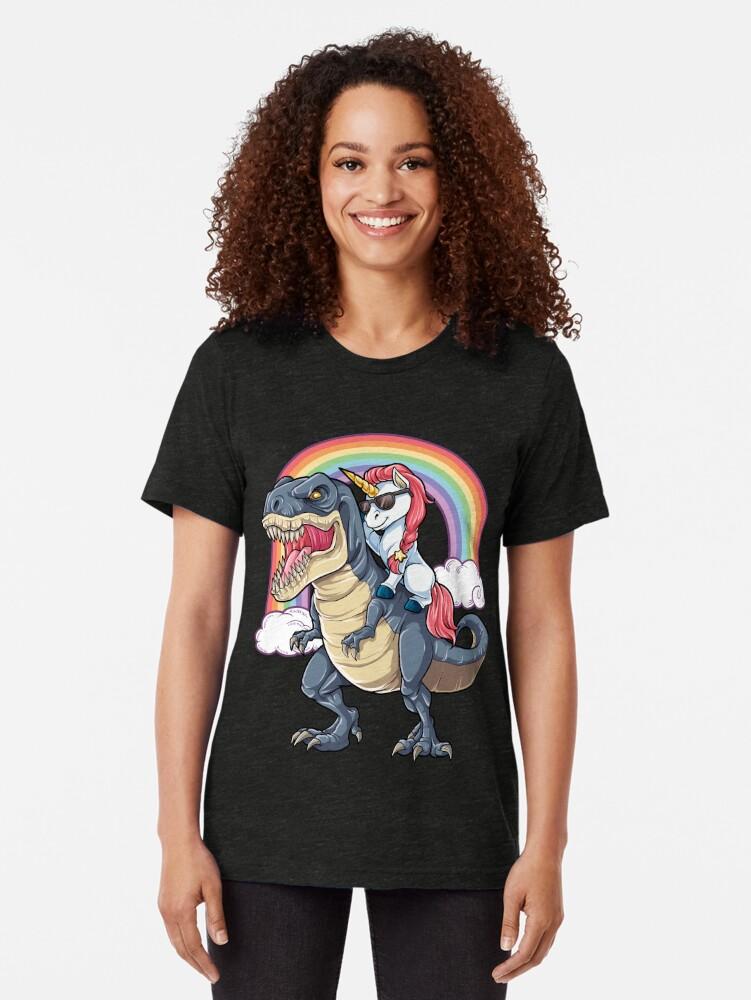 Alternate view of Unicorn Riding Dinosaur T Shirt T-Rex Funny Unicorns Party Rainbow Squad Gifts for Kids Boys Girls Tri-blend T-Shirt