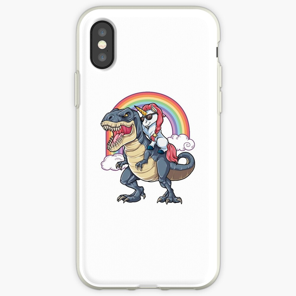 Unicorn Riding Dinosaur T Shirt T-Rex Funny Unicorns Party Rainbow Squad Gifts for Kids Boys Girls iPhone Case & Cover