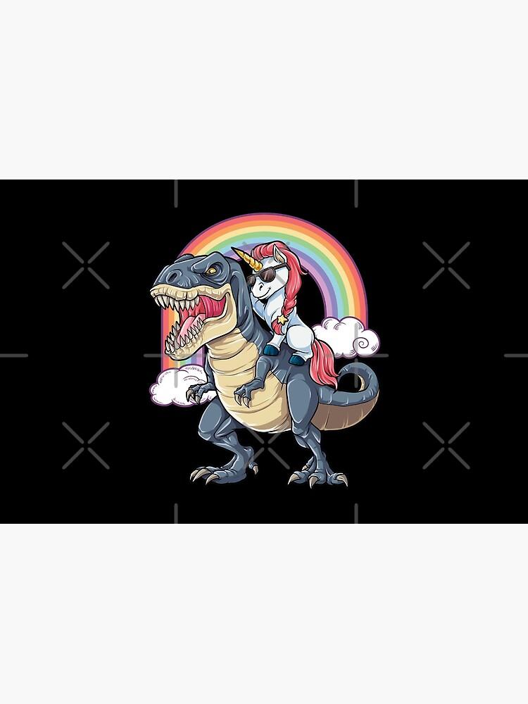 Unicorn Riding Dinosaur T Shirt T-Rex Funny Unicorns Party Rainbow Squad Gifts for Kids Boys Girls by LiqueGifts