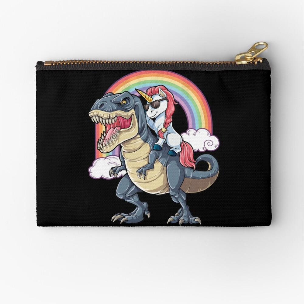 Unicorn Riding Dinosaur T Shirt T-Rex Funny Unicorns Party Rainbow Squad Gifts for Kids Boys Girls Zipper Pouch