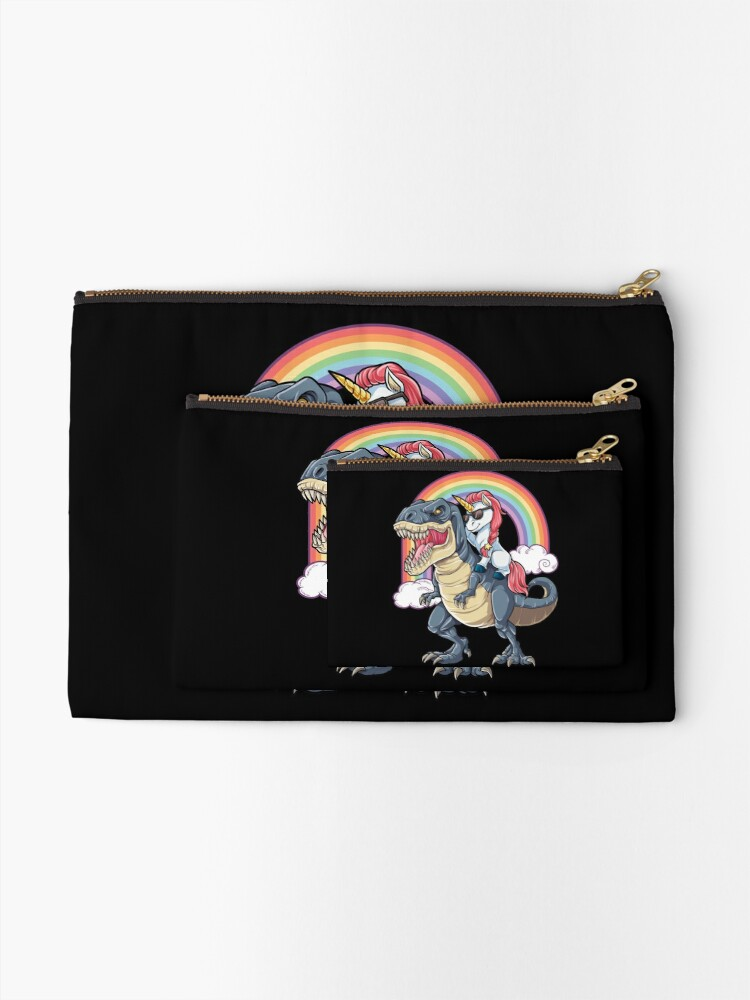 Alternate view of Unicorn Riding Dinosaur T Shirt T-Rex Funny Unicorns Party Rainbow Squad Gifts for Kids Boys Girls Zipper Pouch