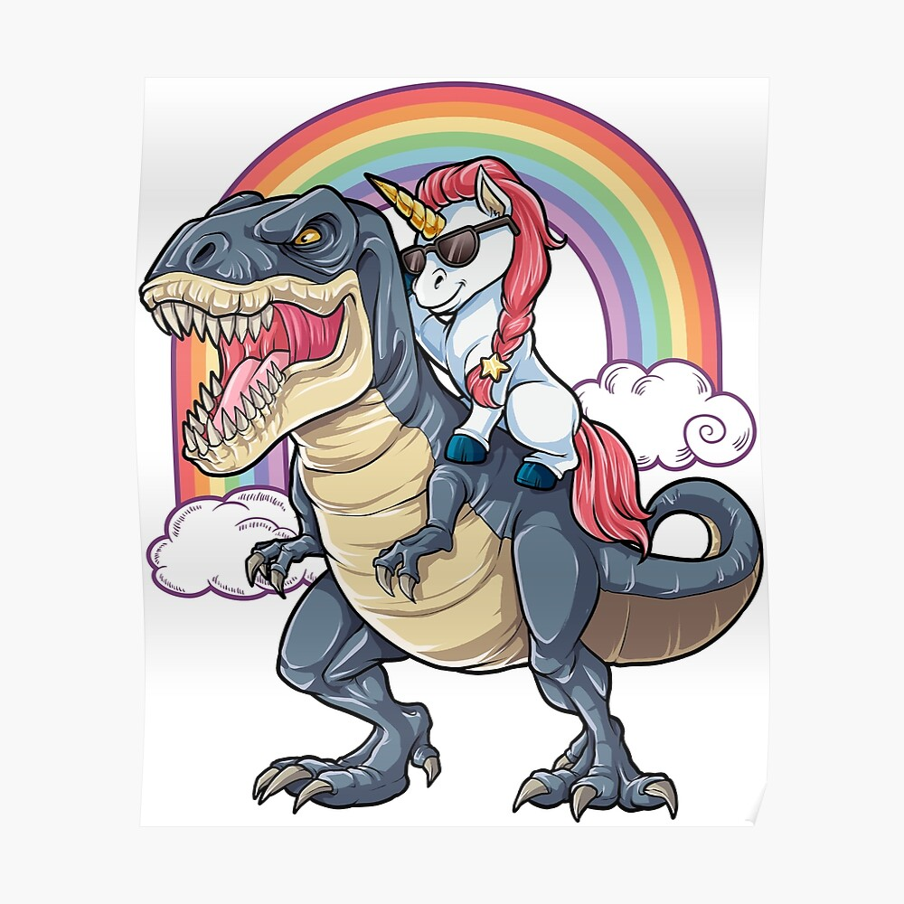 Unicorn Riding Dinosaur T Shirt T-Rex Funny Unicorns Party Rainbow Squad Gifts for Kids Boys Girls Poster