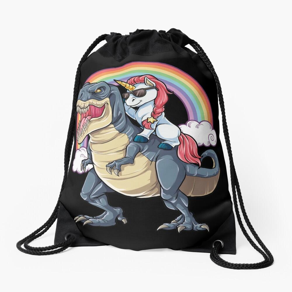 Unicorn Riding Dinosaur T Shirt T-Rex Funny Unicorns Party Rainbow Squad Gifts for Kids Boys Girls Drawstring Bag